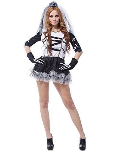 E-COM Womens Ghost Cosplay Sexy Death Party Dress Bride Costumes Fancy Dress