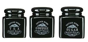 Black Tea Coffee Sugar Storage Jar Canister Set