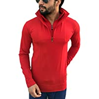Tees Collection Men's Stylish Half Zip Double Flap Collar Full Sleeve Red Colour T-Shirt (Large)