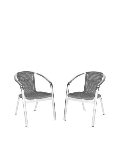 Safavieh Set of 2 Wrangell Indoor/Outdoor Stacking Armchairs, Grey