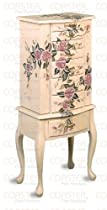 Hot Sale Coaster Jewelry Armoire, Ivory Finish Wood with Hand Painted Roses Floral