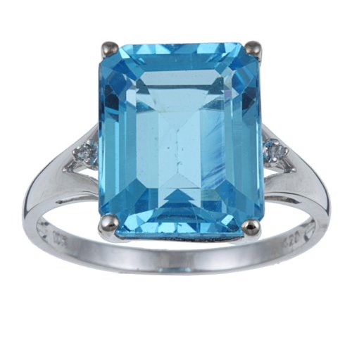 10k White Gold Emerald Cut Blue Topaz and Diamond Ring