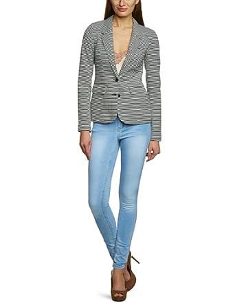 VERO MODA Damen Blazer, gestreift 10092150 WP - STAIN JANA L/S BLAZER, Gr. 36 (S), Mehrfarbig (SNOW WHITE / Stripes:BLACK)