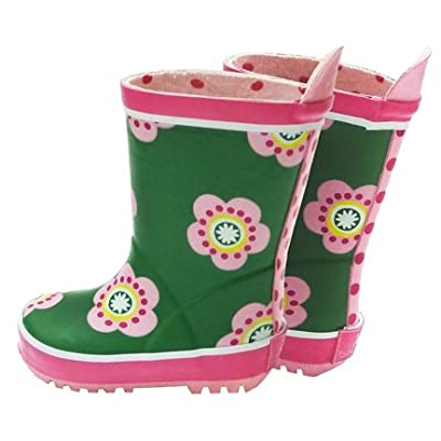 Toby Tiger Girls Green Pea Flower Wellington Boots with Cotton Linings