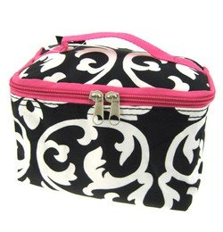 Cute Cosmetic Makeup Bag Case Damask Print Hot Pink Trim Black White Small by china