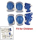 Children Blue White Sports Skating Elbow Knee Wrist Pad Support Set