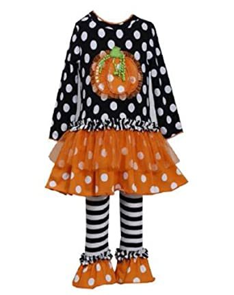 Baby Bonnie Jean Black Dot Ruffle Pumpkin Legging Set
