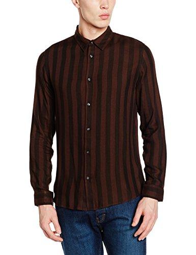 New Look Herren Hemden mit Lockerem Schnitt Rust Stripe Shirt
