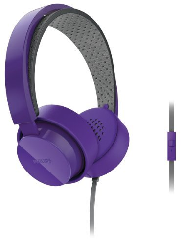 Philips Citiscape Metro Shl5205Pp Shibuya Series On-Ear Headphones Stereo Headset With In-Line Microphone (Purple Shl5200 + Mic)