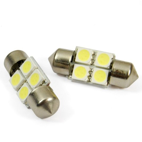 31Mm 4 Smd 5050 White Led Festoon Interior Dome Light Lamp Bulb 3021 3022