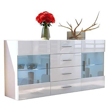 Buffet Dressoir Bari, Corps en Blanc mat / Façades en Blanc haute brillance