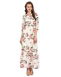 Long Printed Polyester Dress X-Large
