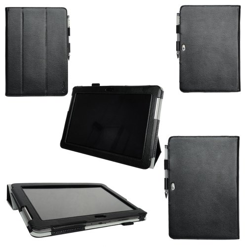 Procase Samsung Galaxy Tab 2 10.1 Protective Case - Tri-Fold Slim Leather Folio Cover For Samsung Galaxy Tab 2 10.1 Inch Tablet With Stand, Gt-P5110 P5100 (Black)