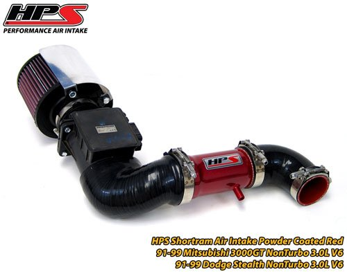 HPS Short Ram Air Intake Kit Red for 91-99 Mitsubishi 3000GT Non Turbo 3.0L V6