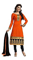 Bdow Women's Churidar Salwar Suit dress material (Orange-Black-Embroidered-unstitched)