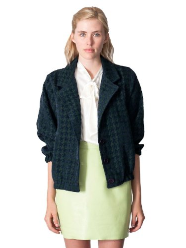American Apparel Houndstooth Jacquard Woven Jacket -Navy Forest Houndstooth, One S