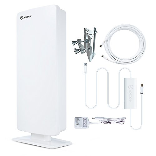 ANTOP Flat Panel Outdoor/Indoor Digital TV Antenna with Smartpass Amplified and Built-in 4G LTE Filter-80 Miles Long Range Multi-Directional Reception - 40ft Detachable Coaxial Cable AT-400B (Rv Tv Antenas compare prices)