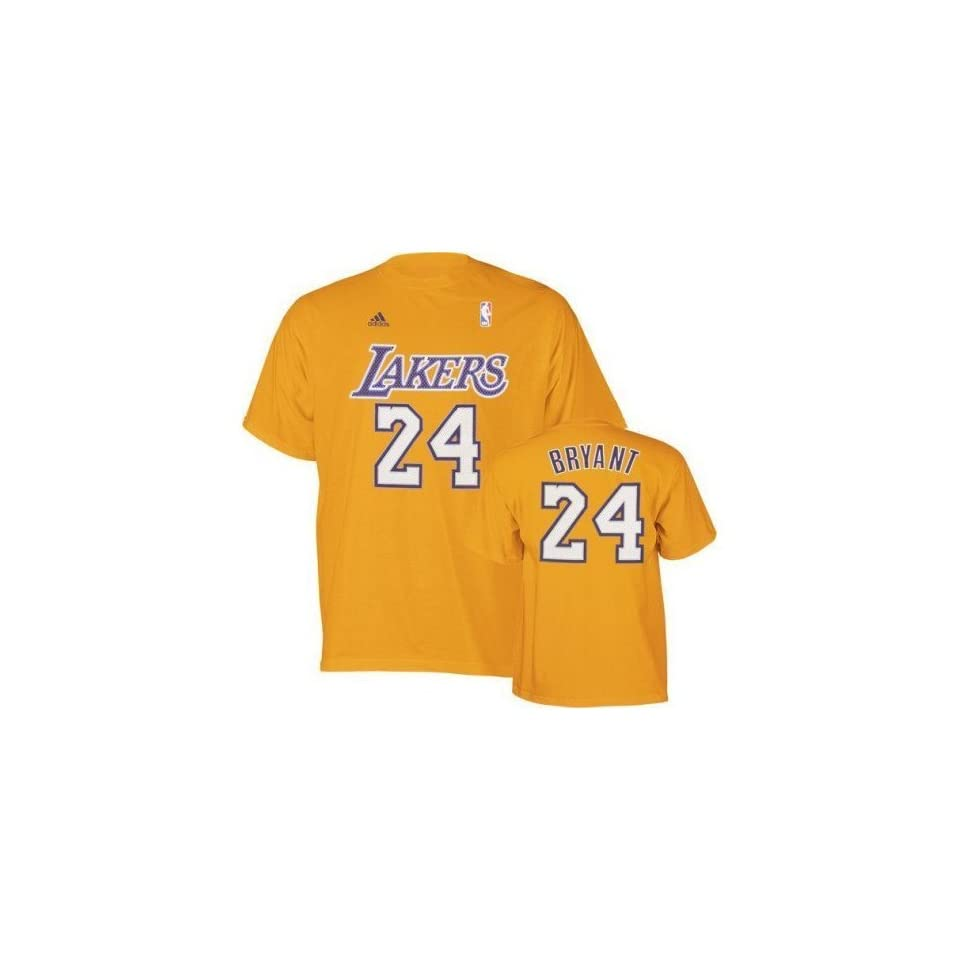 Kobe Bryant Los Angeles Lakers Yellow Name and Number T Shirt   X Large