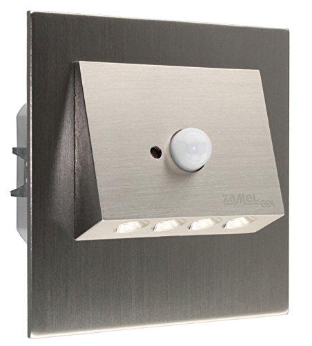 LED-Einbauleuchte NAVI Edelstahl mit integriertem Bewegungsmelder als Wandleuchte oder Treppenlicht Treppenbeleuchtung 230V AC WARMWEISS
