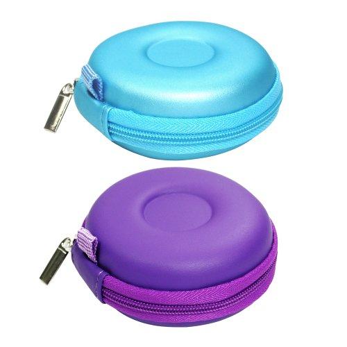 Bluecell Light Blue/Purple Color Pu Leather Earphone Hard Case/Bag For Sony Panasonic Beats Earpods Earbuds Earphone