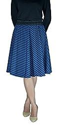 DeeVineeTi Striped Women's Gathered Skirt, Blue & Black