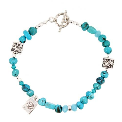 Turquoise Nugget Gemstone Bead and Sterling Silver Toggle Bracelet with Lotus Blossom Flower Charm, 8 1/2 Length, #7510