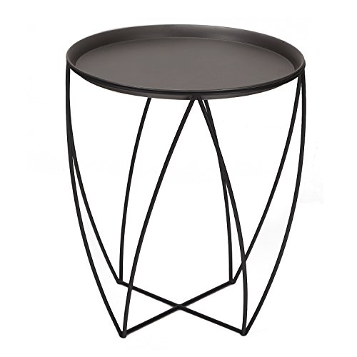 ELEGAN Modern Round Metal Side End Table (Side Table Espresso Curved Legs compare prices)