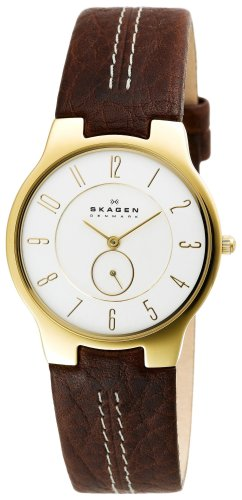 Skagen Men's 433LGL1 Brown Leather Quartz Watch with White Dial