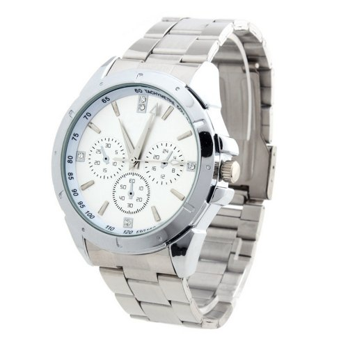 Yesurprise Fashion White Stainless Steel Band Dial Crystal Lady Women Men Watch
