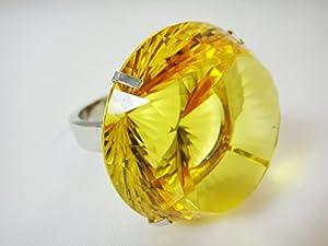 Crystal Diamond Jewel Paperweight 50 mm Yellow Ring