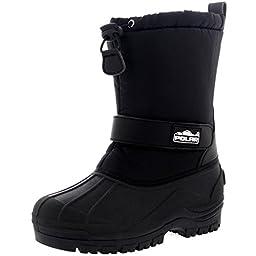 Unisex Kids Pull On Drawstring Closure Nylon Winter Snow Rain Fur Boots - 13 - BLK31 YC0154