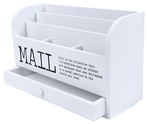 Mail Organizer - 3 Tiered White Letter File Wooden Desk Compartment Sorter Organizer Storage Drawer- 11
