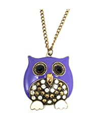 Ammvi Creation Mr. Purple Plump Owl Necklace For Women