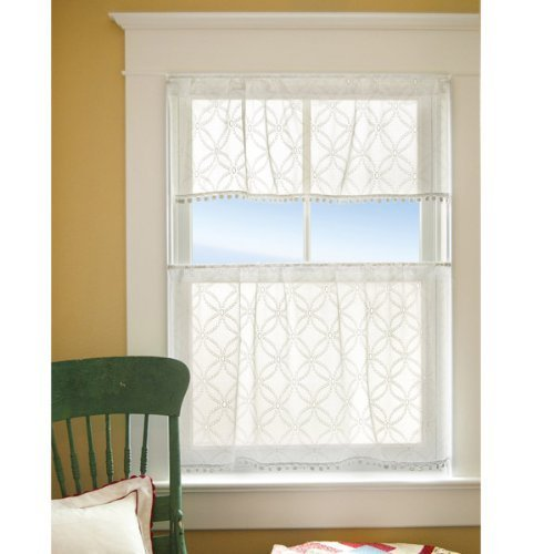 Heritage Lace Prima Eyelet Tier with Trim, 42 by 24-Inch, White by Heritage Lace