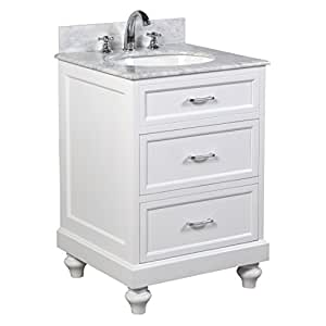 amelia 24 inch bathroom vanity carrara white includes a white