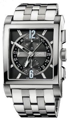 Oris Men's 674 7625 7064MB Rectangular Titan Day Date Black Dial Watch