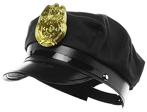 Novelty Costume Police Cop Black Hat with Plastic Badge Halloween Accessory