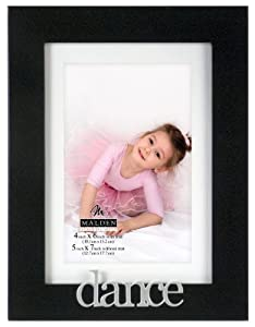 Malden International Designs Expressions Dance Picture Frame, Holds 4 by 6-Inch Matted 5 by 7-Inch Black Picture