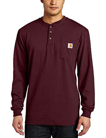 Carhartt Men's Workwear Pocket Long Sleeve Henley Midweight Jersey Original Fit K128,Port,Small