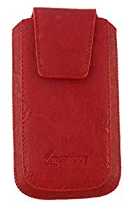 Emartbuy® Classic Range Red Luxury PU Leather Slide in Pouch Case Cover Sleeve Holder ( Size 3XL ) With Magnetic Flap & Pull Tab Mechanism Suitable For Gigabyte GSmart G1362