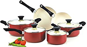 Nonstick Ceramic Coating PTFE-PFOA-Cadmium Free 10-Piece Cookware Set, Red