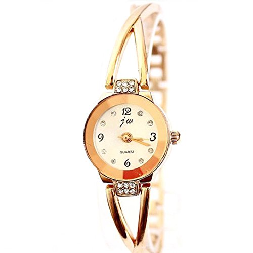 Rose Gold Plated Women's Elegant Rhinestone Bracelet Quartz Watch Fashion Ladies Dress Watches