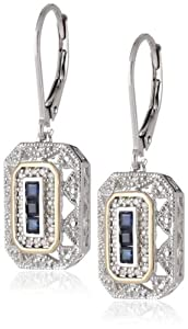 S&G Sterling Silver and 14k Yellow Gold Blue Sapphire  with Diamond-Accent Art Deco-Style Drop Earrings (0.12 cttw, I-J Color, I3 Clarity)