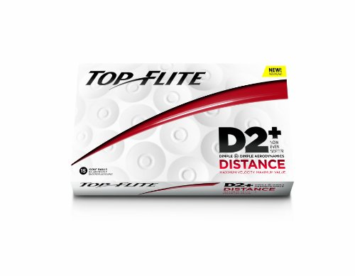 Top-Flite D2+ Distance Golf Balls (15 Pack, White)