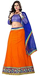 Khoobee Presents Women's Multi Embroidered Stitched Lahenga With Unstitched Blouse Piece.(Orange)