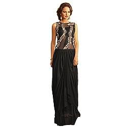 Bhelpuri Women Black Net Georgette Gown