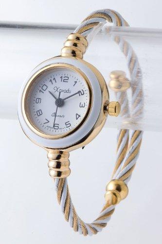 Contempo Couture Round Case Cable Cuff Watch (Gold/White)