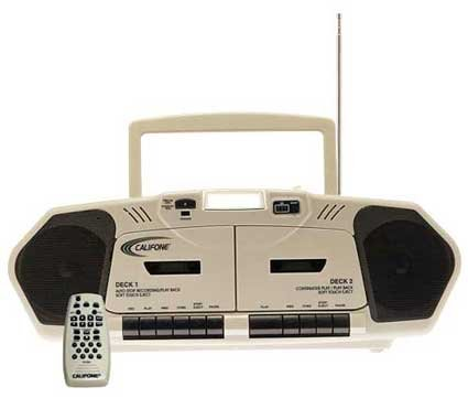 Califone 2395Av-02 Music Maker Plus Dual Cassette Recorder With Cd, Am/Fm, 6 Watts Rms