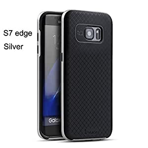 IPaky Hybrid Hard Bumper TPU Dotted Rubber Back Case Cover For Samsung Galaxy S7 Edge -Silver