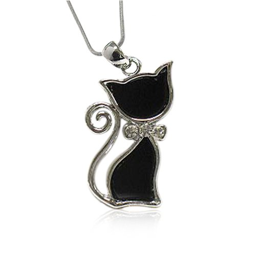 White Gold Plated Crystal Deco Kitty Cat Pendant Fashion Necklace